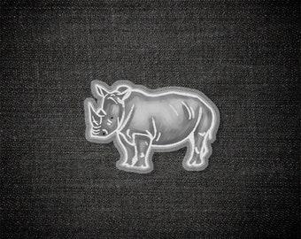 White Rhino Spirit Animal - Pin, Acrylic Pin, Illustration