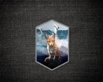 Foxelope - Pin / Acrylic Pin / Mixed Media / Boho / Woodland Creature / Fantasy