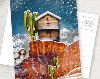 Desert Ski Cabin - 5x7 POSTCARD / Framable / Mixed Media / Boho / Desert Snow / Composite