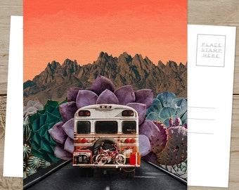 Away in a Bus - 5x7 POSTCARD / Framable / Mixed Media / Boho / Skoolie Art / Succulents
