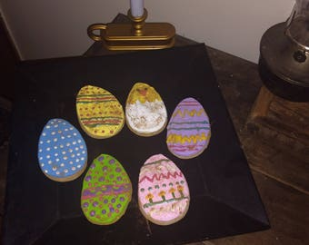 Six Fake Primitive And Worn Easter Sugar Cookies   Perfect Primitive Easter  Decorations