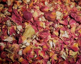 Dried Red Rose Petals & Buds  - Great For Weddings, Potpourri And Sachets