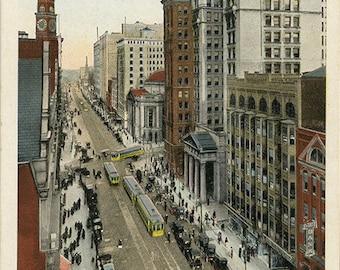 Cleveland Ohio Downtown Euclid Avenue Business Section Vintage Postcard 1930s (unused)