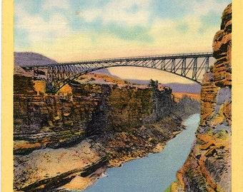 Navajo Bridge Across Colorado River Marble Canyon Northern Arizona Vintage Postcard (unused)
