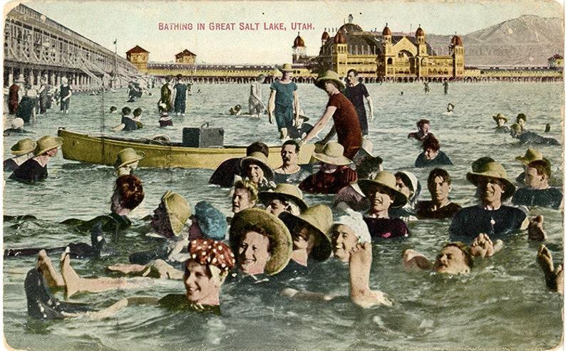 Bathing in Great Salt Lake Saltair Pavilion Utah Vintage Postcard circa 1910 unused
