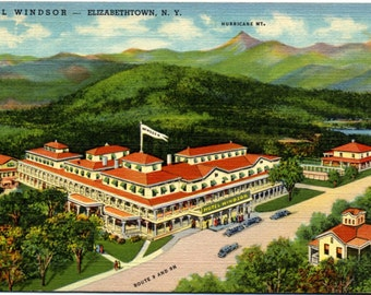 Elizabethtown New York Hotel Windsor Adirondack Mountains Vintage Postcard 1946