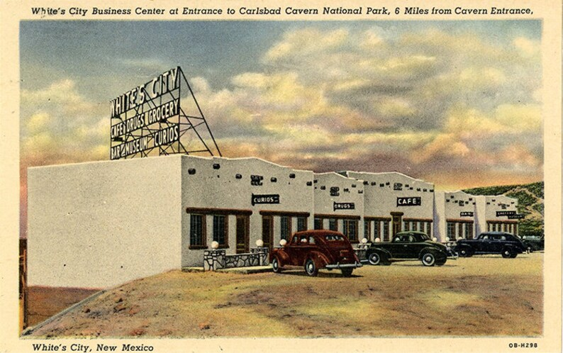 Carlsbad Cavern National Park White/'s City Business Center New Mexico Vintage Postcard unused