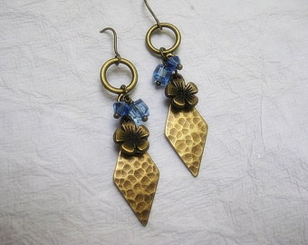 Antique brass And Blue Crystal Earrings