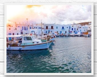Greece print, boat wall art, travel wall art printable digital download photography, printable photography, vintage art download, light leak