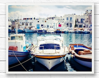 Fishing boat wall art prints, blue wall art photography, Paros Greece print, travel print, nautical decor, boat wall decor, Greek decor