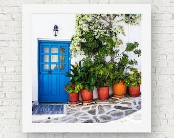 Blue door photography art prints, Greece wall art print, square art, Greek decor, prints of doors, travel wall print, door wall decor, Paros