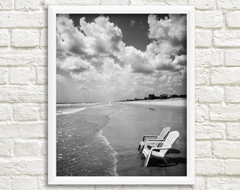 ocean photography black and white prints printable photos beach photography digital download beach chair st augustine florida print