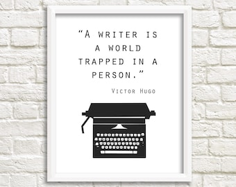 Gifts for writers etsy gifts for writers quote print victor hugo typewriter art writer quote black white wall art writer print writer gift world trapped negle Images