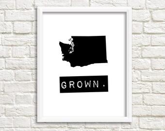 Washington prints, custom map art, digital download black and white printable, Washington state print, Washington home sign, home state sign