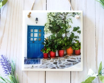 Greece wall art photography, tile wall sign, door photography art, ceramic tile wall hanging, Mediterranean decor, ceramic sign, tile art