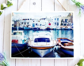 Greece wall art, tile wall hanging, ceramic tile art, wall signs for home, Greece photography wall decor, nautical decor, boat art Greek art