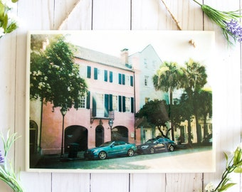 Bathroom art, ceramic tile picture, Charleston SC, bedroom wall decor, Charleston art, Rainbow Row Charleston photography, ceramic tile sign