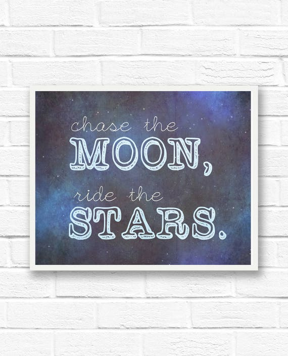 Moon And Stars Wall Art Quotes Inspirational Quotes Star Etsy