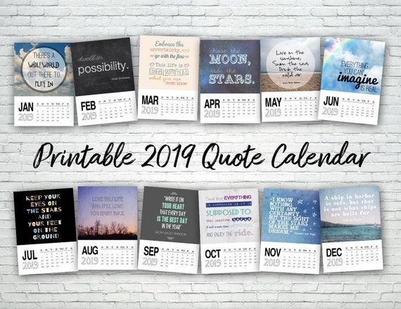 Printable Calendar 2019 Quote Calendar Digital Calendar Etsy