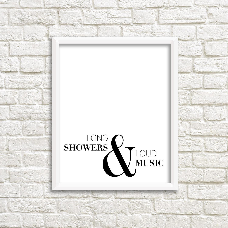 Bathroom Wall Art Black White Printable Minimalist