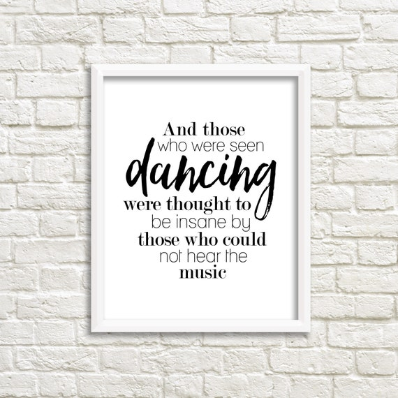 dance prints digital download printable quotes black and etsy