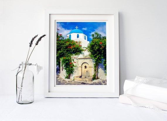 Greek islands Greek decor Paros Greece wall art photography travel prints Greece photos church print Greek church photography