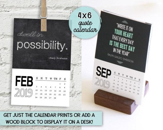 Inspirational Calendar 4x6 Desk Calendar Quotes Calendar Etsy