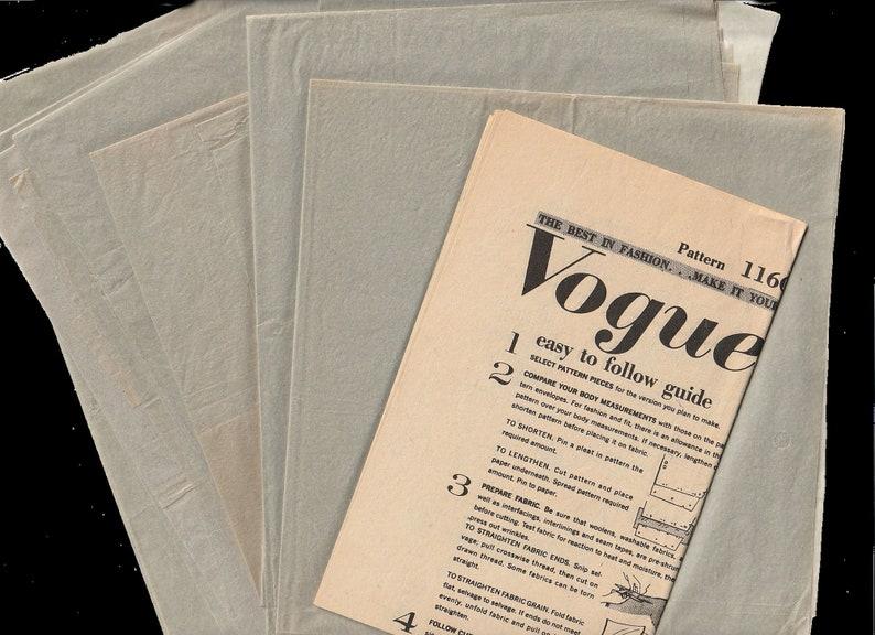 1960s Vogue Paris Original 1160 Guy Laroche Blouson Scoop Neckline Lap Front Dress Crushed Belt Vintage Sewing Pattern Size 16 Bust 36 92cm