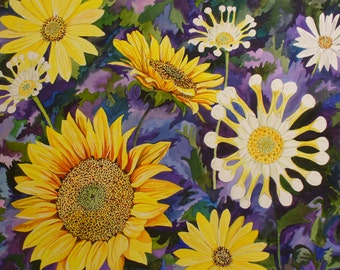 Sunflowers & Spoon Mums Watercolor Print