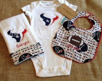 Houston Texans Onesie, Bib and Burp Cloth Set/Nfl Sports Team Set/Sports