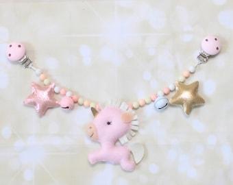 Baby stroller mobile Stroller chain Stroller toy Pram chain Pram toy String toy Felt baby rattle Unicorn stroller mobile Pram garland