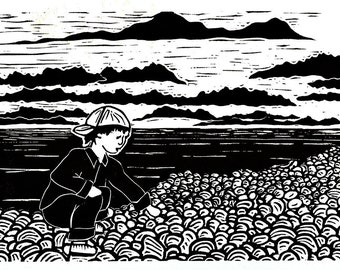 On the North Shore - hand-pulled print of boy collecting rocks at Lake Superior in Minnesota