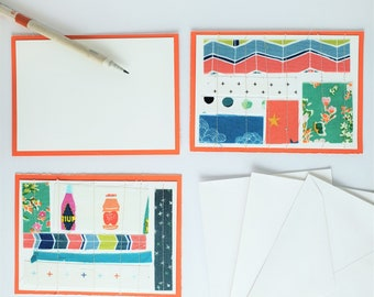 Quilt Cards, Handmade Fabric Stitched Card Set of 3 for Thank You, Congratulations, Birthday, Blank with Envelopes