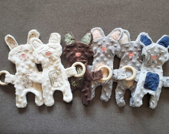 Baby Bunny Teething Buddy Minky Plush Pal with All Natural Wood Teething Ring
