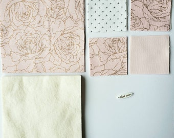 """DIY Quilted Coaster Kit, Beginner Quilt Kit, Make It Yourself Quilted Coaster Kit with Fabrics, Batting, Instructions and """"Handmade"""" Tag"""