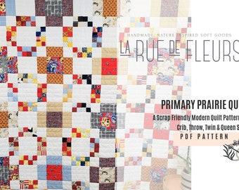 Modern Quilt Pattern, Primary Prairie Quilt PDF Pattern, Scrap Friendly Quilt in Four Sizes