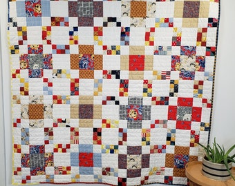 Modern Throw Quilt, Modern Squares Throw Quilt, Primary Prairie Throw Quilt, Modern Cabin Quilt, 66in Square Throw