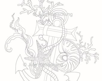 Anchor Coloring Page Etsy
