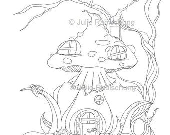 Tea on a Toadstool Faedorables Coloring PageDigi Stamp Fantasy Printable Download by Selina Fenech