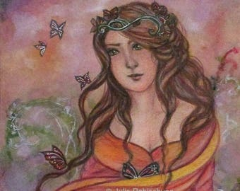 butterflies, woman, art print