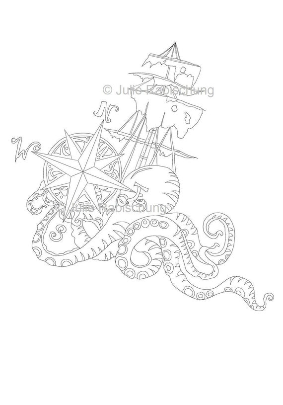 Compass And Octopus Coloring Pagenautical Coloring Etsy