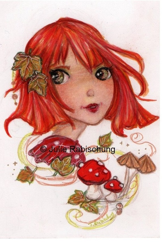 Original Drawing Anime Style Autumn Girl Portrait With Red Hair And Big Eyes Cute Whimsical Art Mushroom Leaves Gift For Her Seasons
