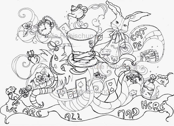 wonderland coloring page-colouring page-coloringbook-adult  coloring-cards-roses-hat-Alice in wonderland-fantasy-digital  stamp-woman-girl