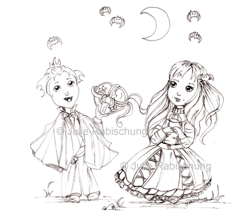 Digital Coloring Page Fantasy Couple Valentine S Day Digital Stamp Little Vampire Little Gothic Girl Adult Coloring Scrapbooking Crafting