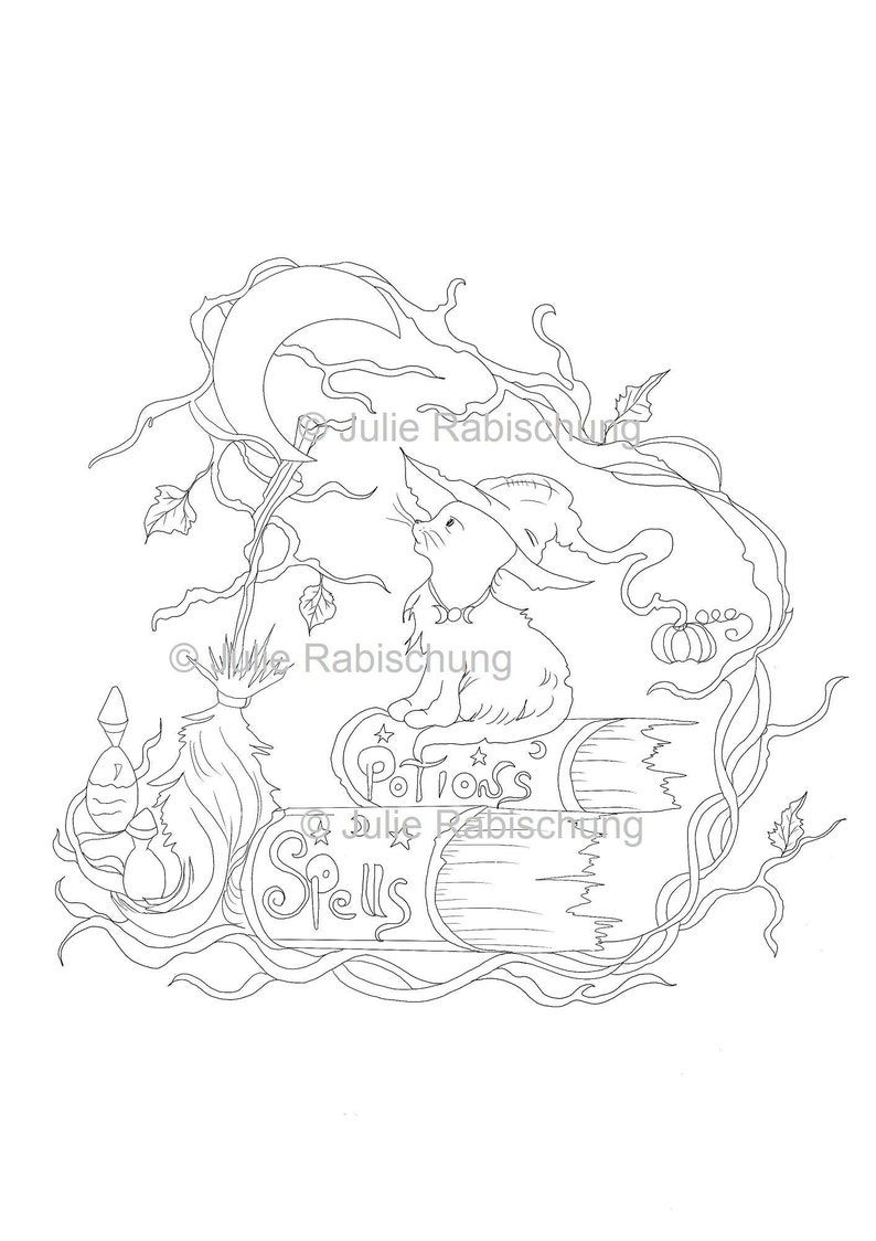 Witch cat coloring page cat and magic coloring page wicca ...
