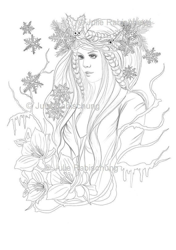 - Printable Coloring Pagewoman Face Coloring Pagewinter Etsy