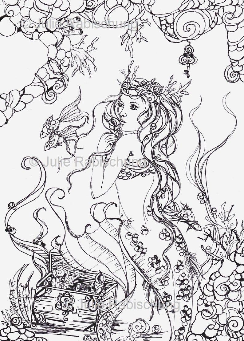 Meerjungfrau Färbung Seite Erwachsenen Färbung Mermaid Färbung Seite Lineart Färbung Buch Download Scrapbooking Digital Stempelkarte Herstellung