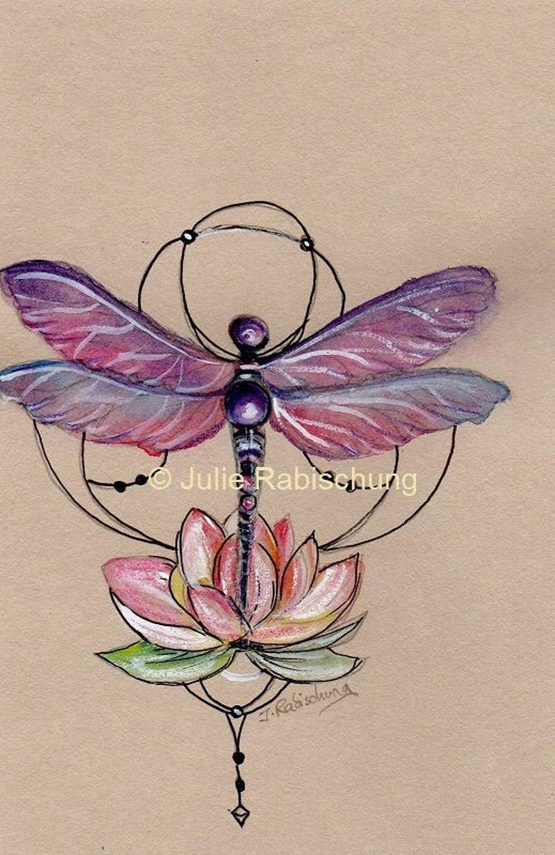 Dragonfly And Lotus Art Printtattoo Printtattoo Style Artart Printdragonfly Tattoo
