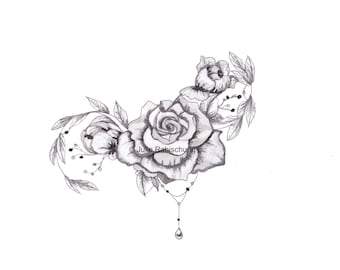 grayscale flowers coloring page,peonies and roses grayscale coloring page,printable coloring page,grayscale coloring,adult coloring page