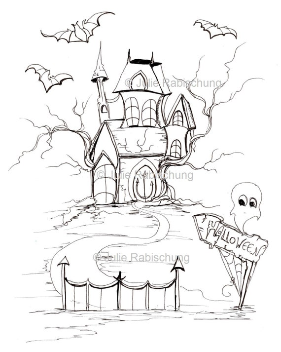 - Halloween Coloring PageHaunted House Coloring Etsy